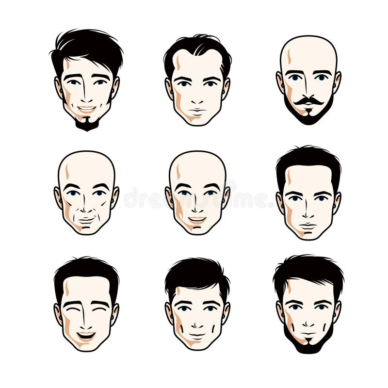 Collection of Caucasian men faces expressing different emotions, vector human head illustrations. royalty free illustration