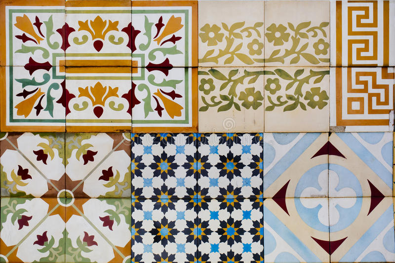 Collection of 9 ceramic tiles stock photo