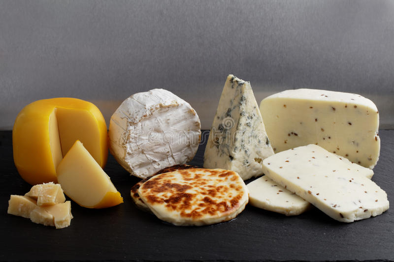 Collection of cheeses stock photo
