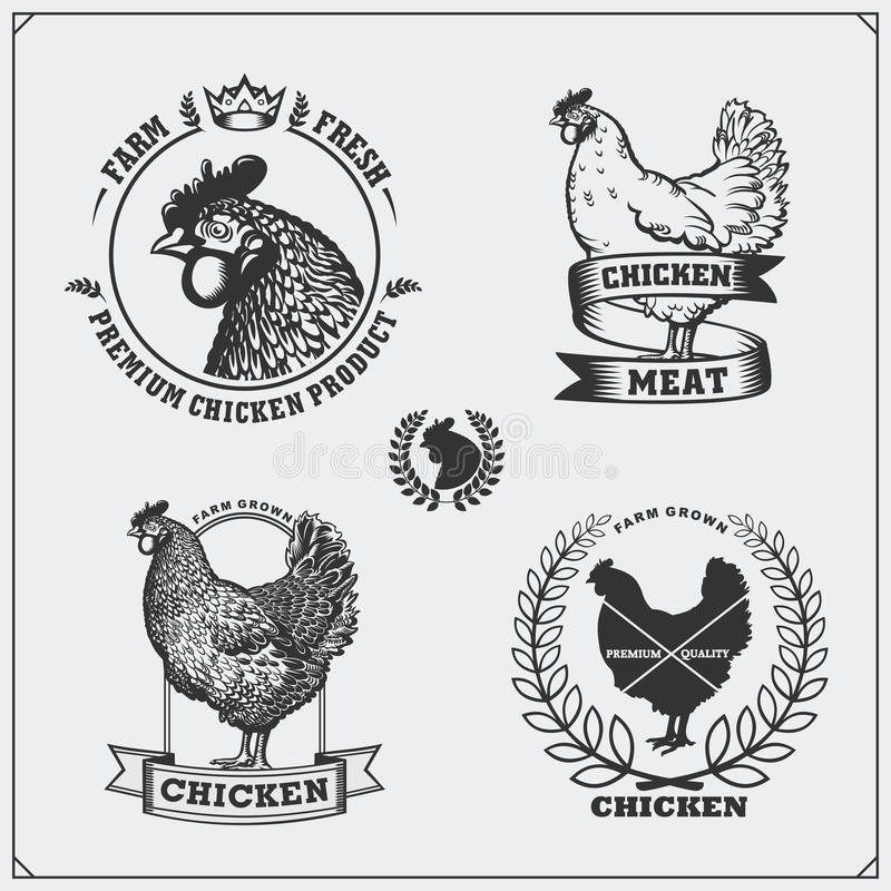 Collection of Chicken meat labels, badges, emblems and design elements. Black and white royalty free illustration