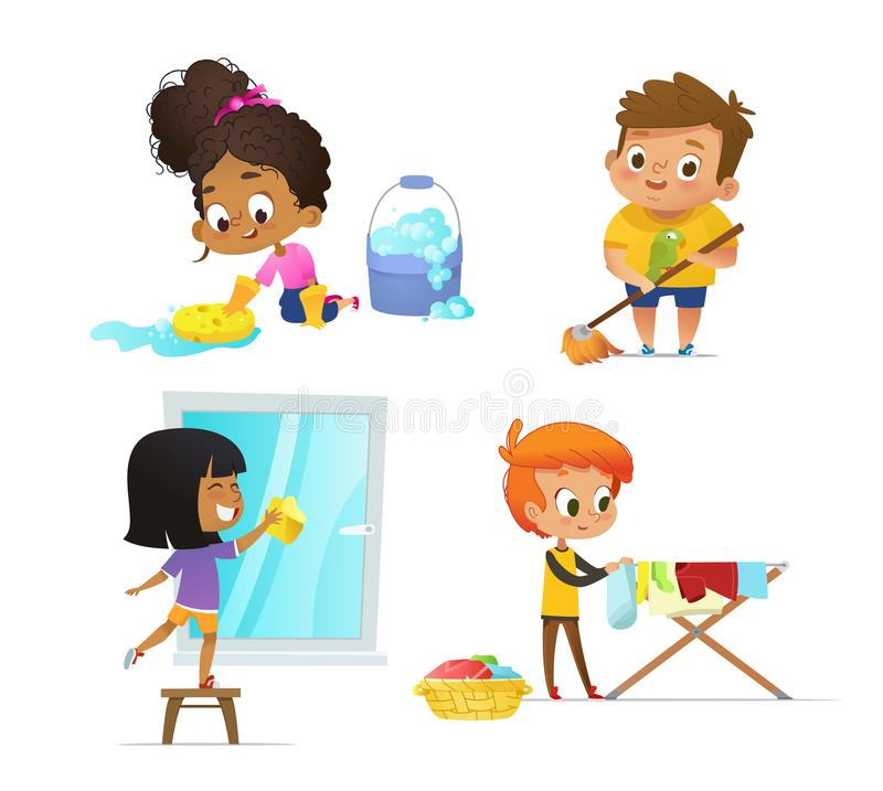 Collection of children doing household routines - mopping floor, washing window, hanging clothes on drying rack. Concept royalty free illustration
