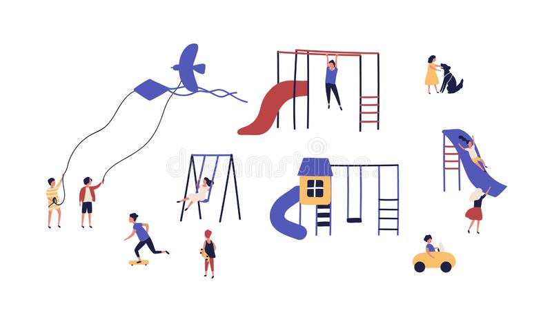 Collection of children playing on playground outdoor isolated on white background. Bundle of playful kids walking with stock illustration