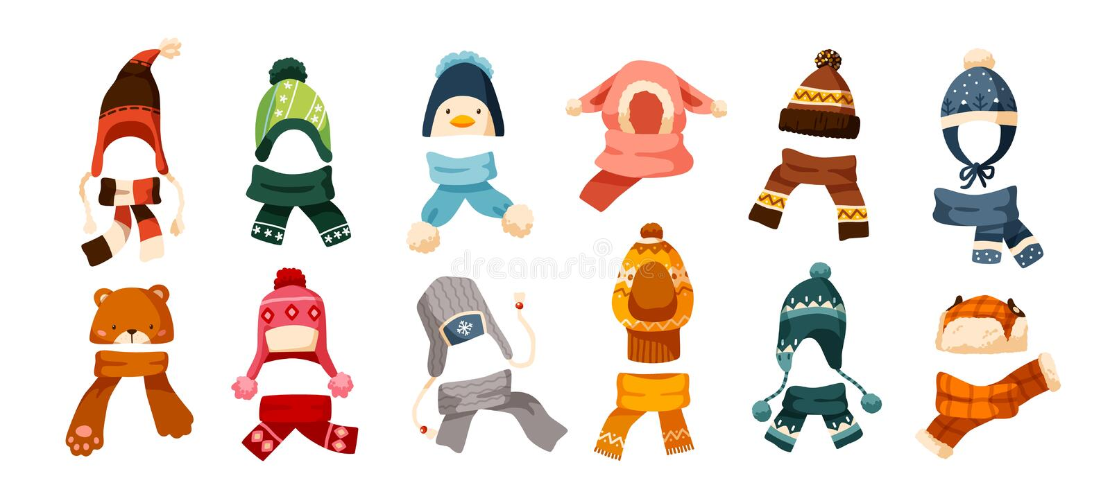 Collection of children s winter knit hats and scarves of various types isolated on white background. Bundle of headgear royalty free illustration