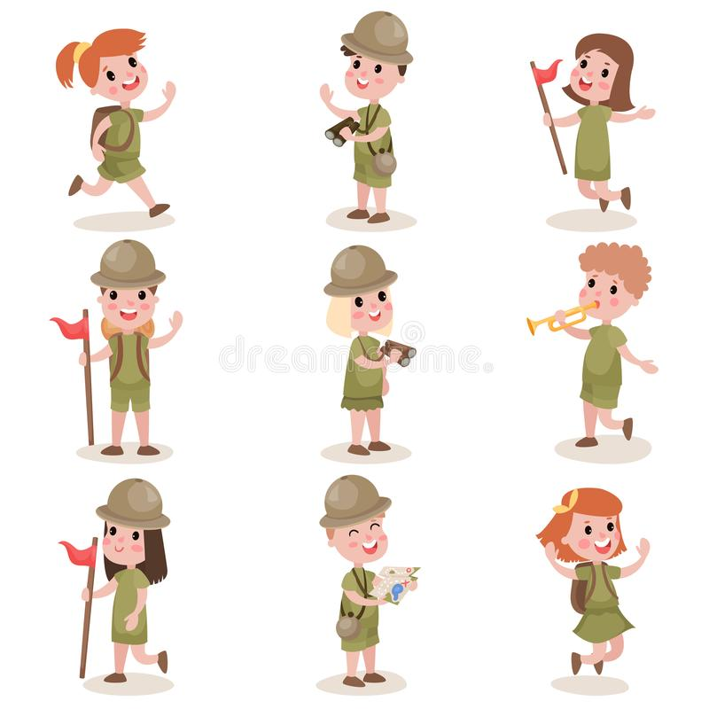 Collection of children scouts camping outfit, summer camp activities. Set of happy children scouts isolated on white background. Kids with camping outfit royalty free illustration