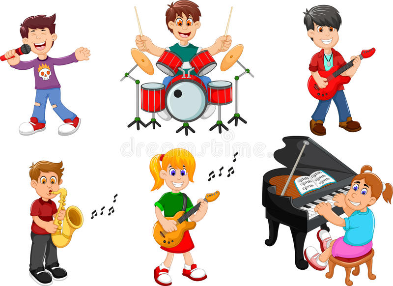 Collection of children singing and playing musical instruments stock illustration