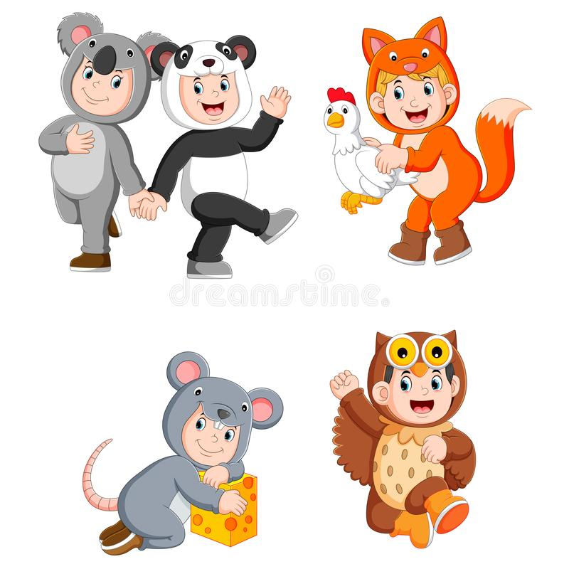 Collection children wearing cute animal costumes. Illustration of collection children wearing cute animal costumes stock illustration