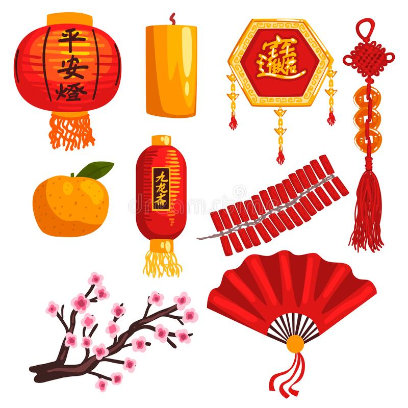 Collection of Chinese New Year decoration elements, lantern, coins, candle, firecrackers, fan, blooming sakura branch vector illustration