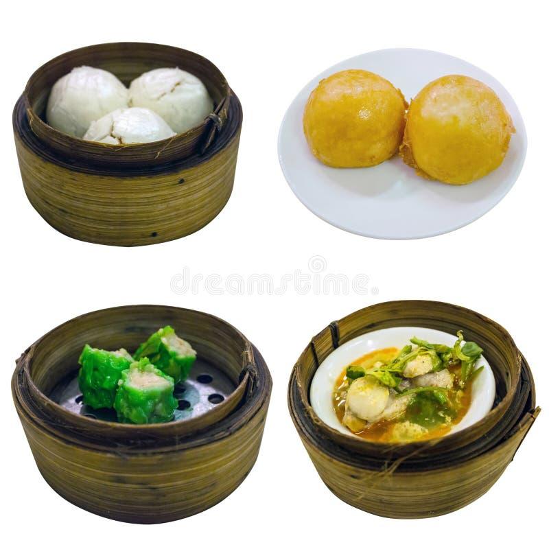 Collection chinoise de nourriture d'isolement sur le chemin blanc de fond et de coupure images stock