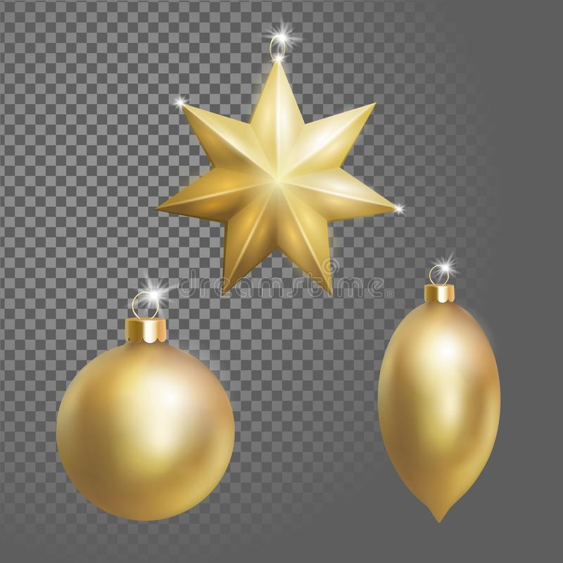 Collection of Christmas ball tree decoration gold round star and oval shape. 3d realistic on transparent stock illustration