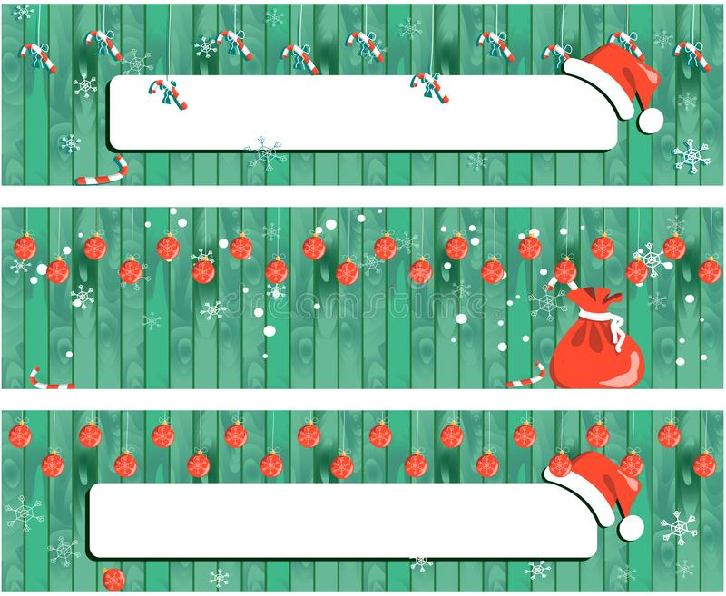 Collection Christmas banner, New Year design wooden background with garland stock illustration