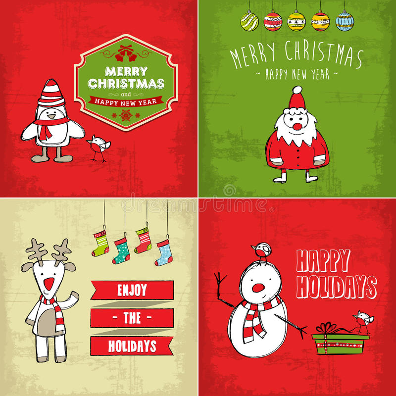 Collection Of Christmas Cards Royalty Free Stock Photography