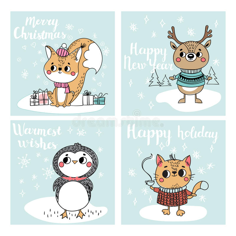 Collection with Christmas cards royalty free illustration