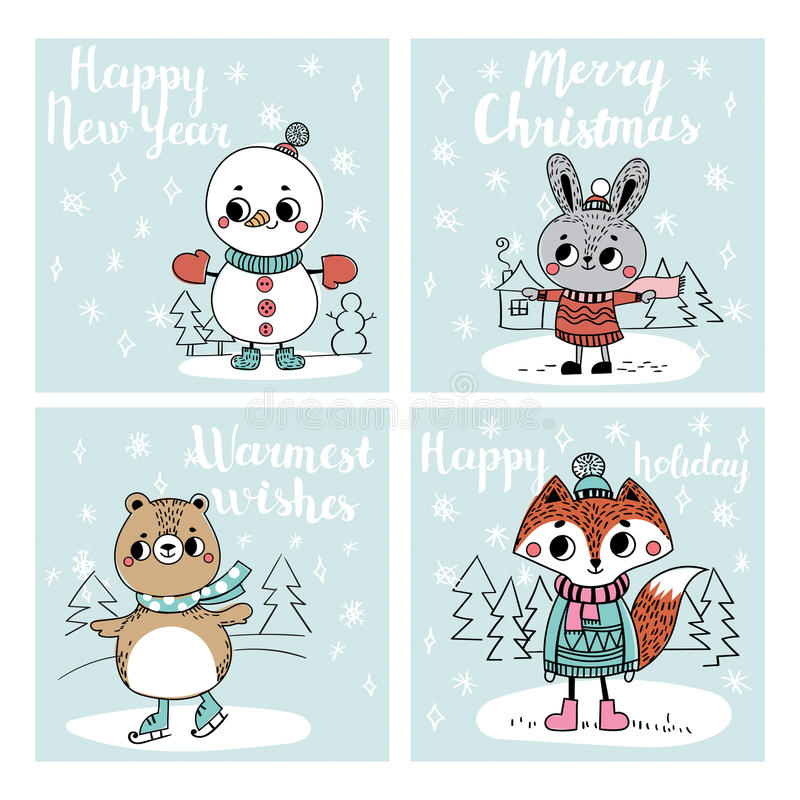 Collection with Christmas cards vector illustration