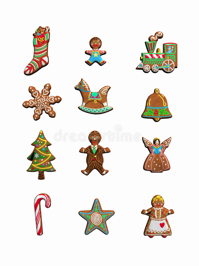 Collection of christmas cookies. stock illustration