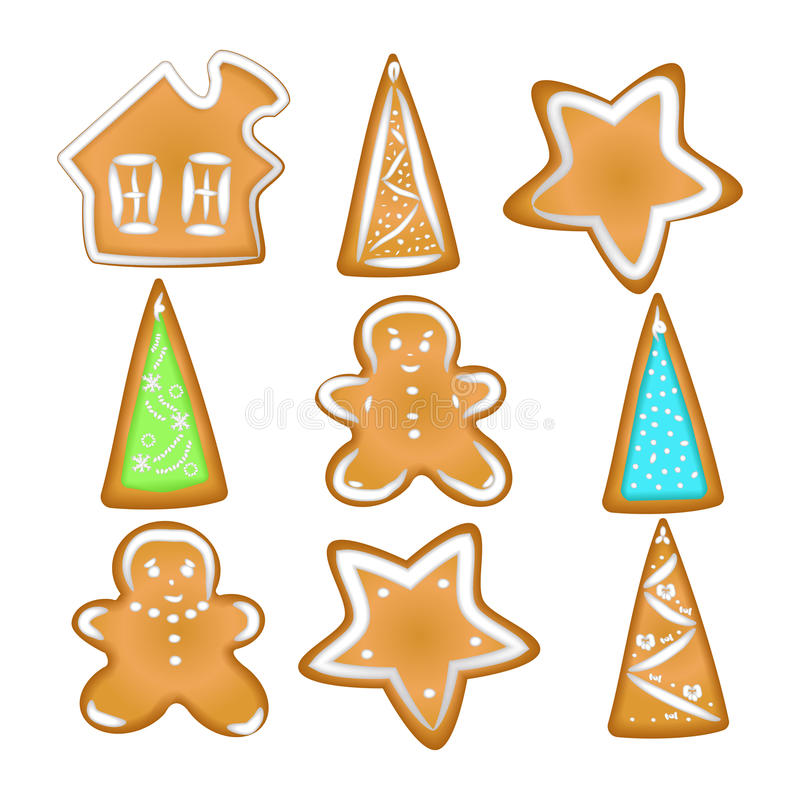 Collection of Christmas cookies. Homemade Gingerbread with spice royalty free illustration