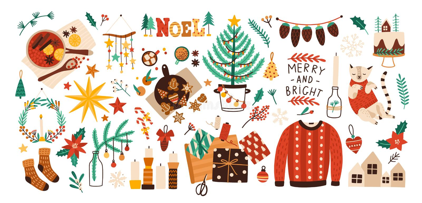 Collection of Christmas decorations, holiday gifts, winter knitted woolen clothes, mulled wine and ginger bread isolated. On white background. Colorful vector vector illustration