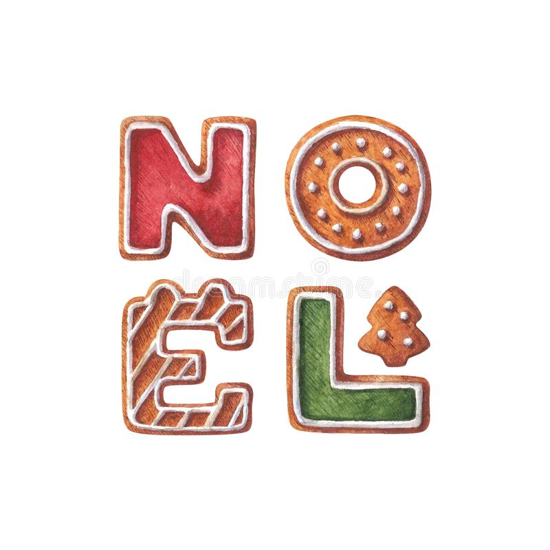 Collection of Christmas gingerbreads, letter N, letter O, letter E , letter L and small Christmas tree. royalty free stock image