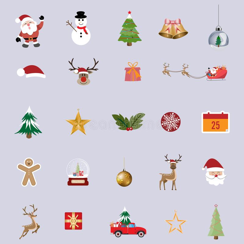 Collection of christmas items elements and decoration, Christmas ornament symbols background - Vector illustration 向量例证