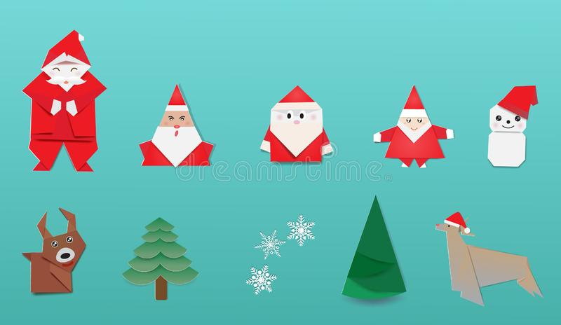 Merry Christmas with Japanese origami stock photos