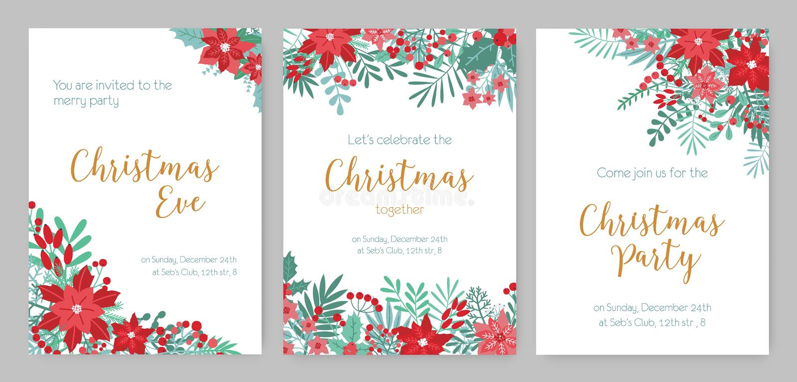 Collection of Christmas Party invitations, holiday event announcement or festive flyer templates decorated with red and royalty free illustration