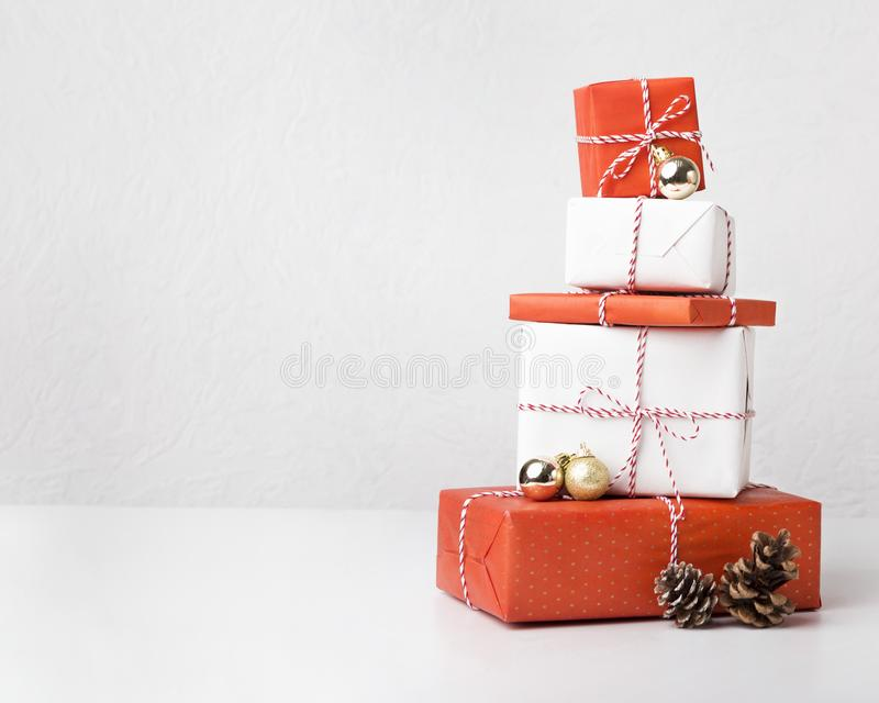 Collection of Christmas presents with cones on white royalty free stock photos