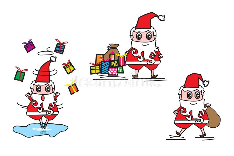 Collection of Christmas Santa Claus play ice skate, send a gift and Kindness . royalty free illustration