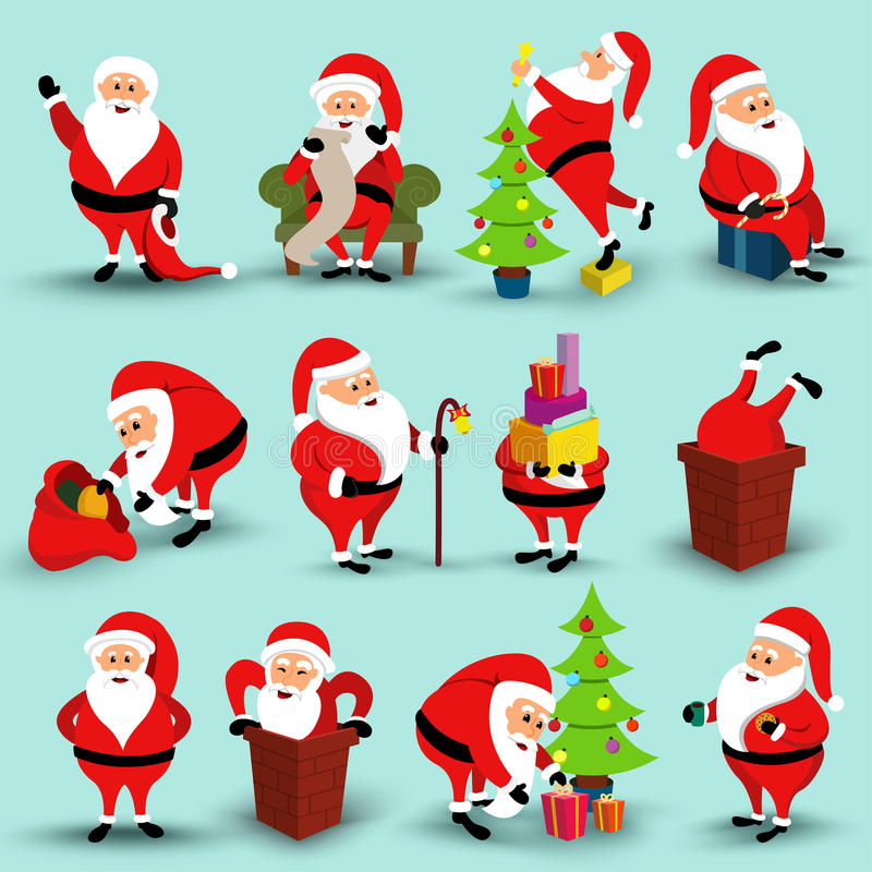 Collection of Christmas smiling Santa Claus character. Cartoon bearded man in festive costume Santa Claus in different stock illustration