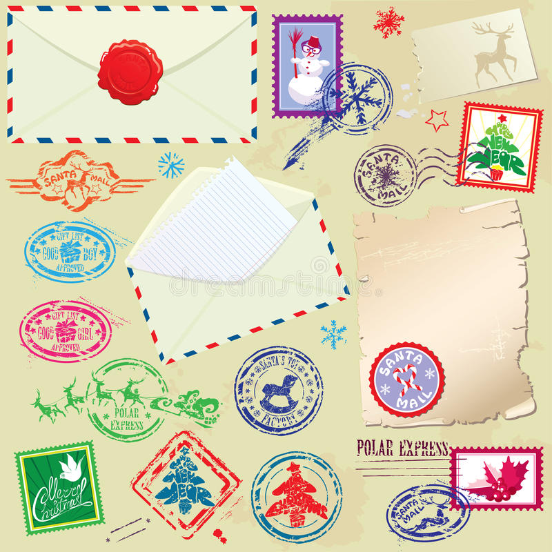 Collection of Christmas stamps, envelops, labels - stock illustration