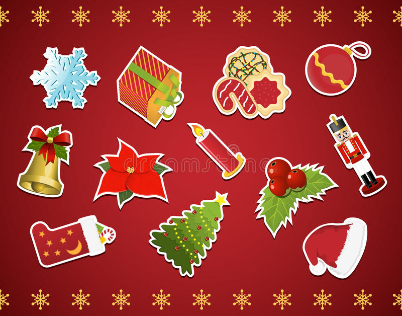 Download Collection Of Christmas Stickers Stock Vector - Image: 21210857