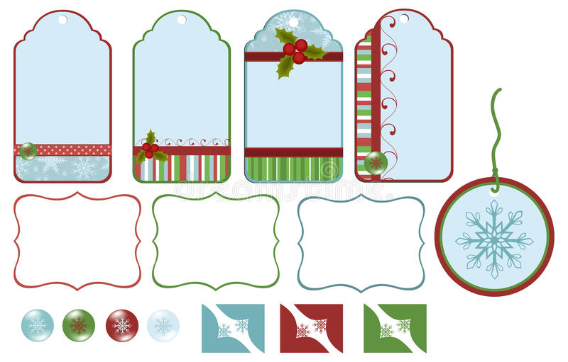 Collection of christmas tags stock illustration