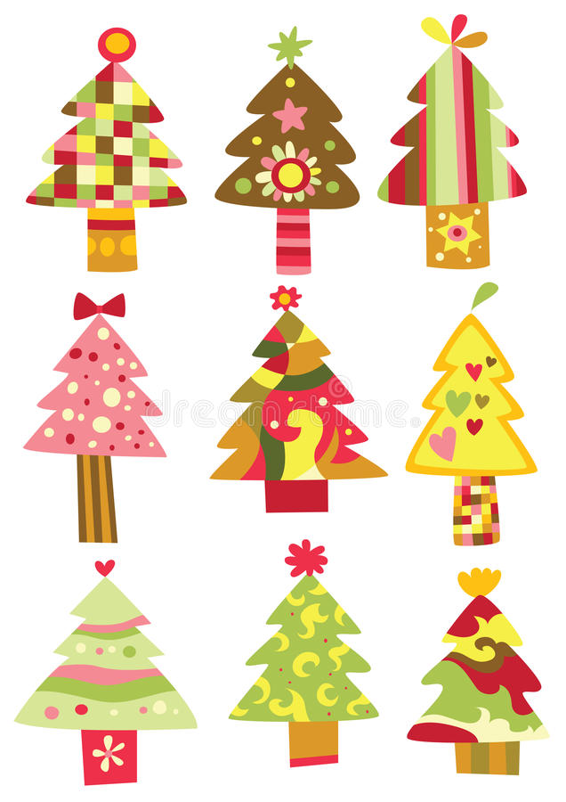 Collection of Christmas Trees vector illustration