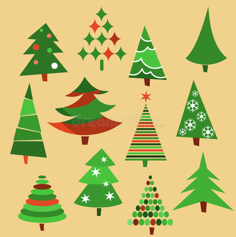 Collection of Christmas trees stock illustration