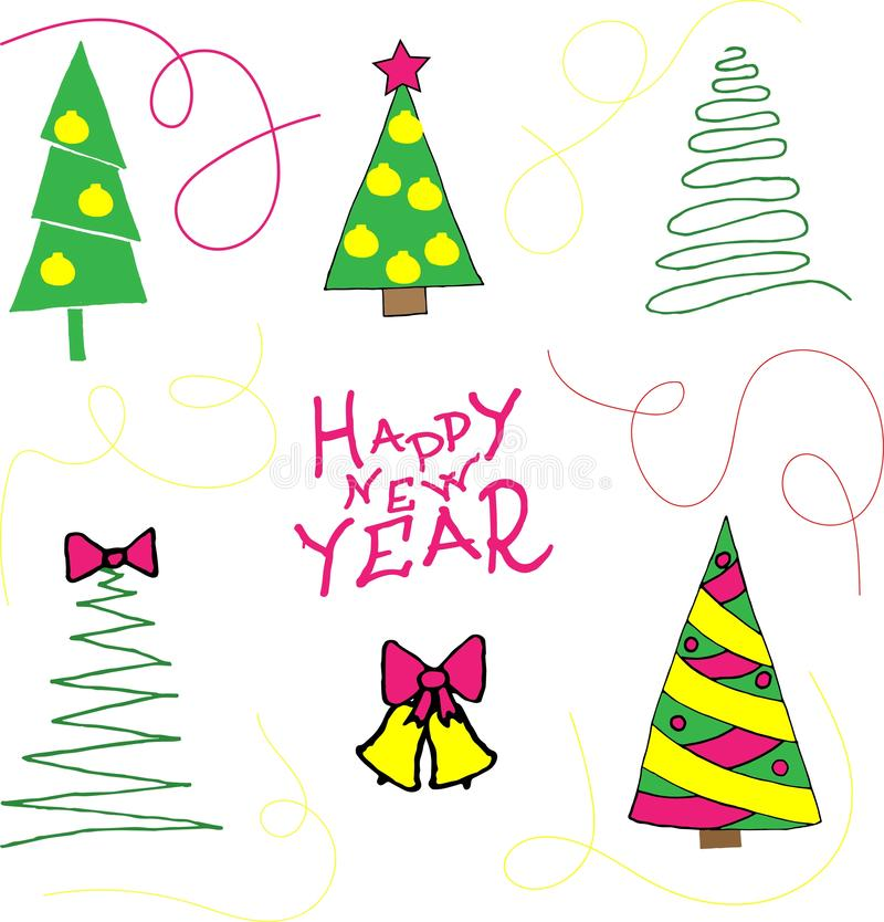 Collection of Christmas trees, modern flat design.  Happy new year-Doodle stile. royalty free illustration