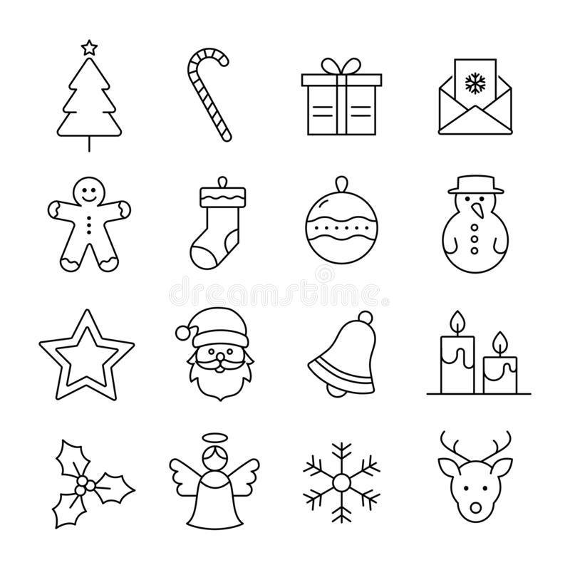 Christmas Icons Collection. Collection Of Christmas and Winter Icons royalty free illustration