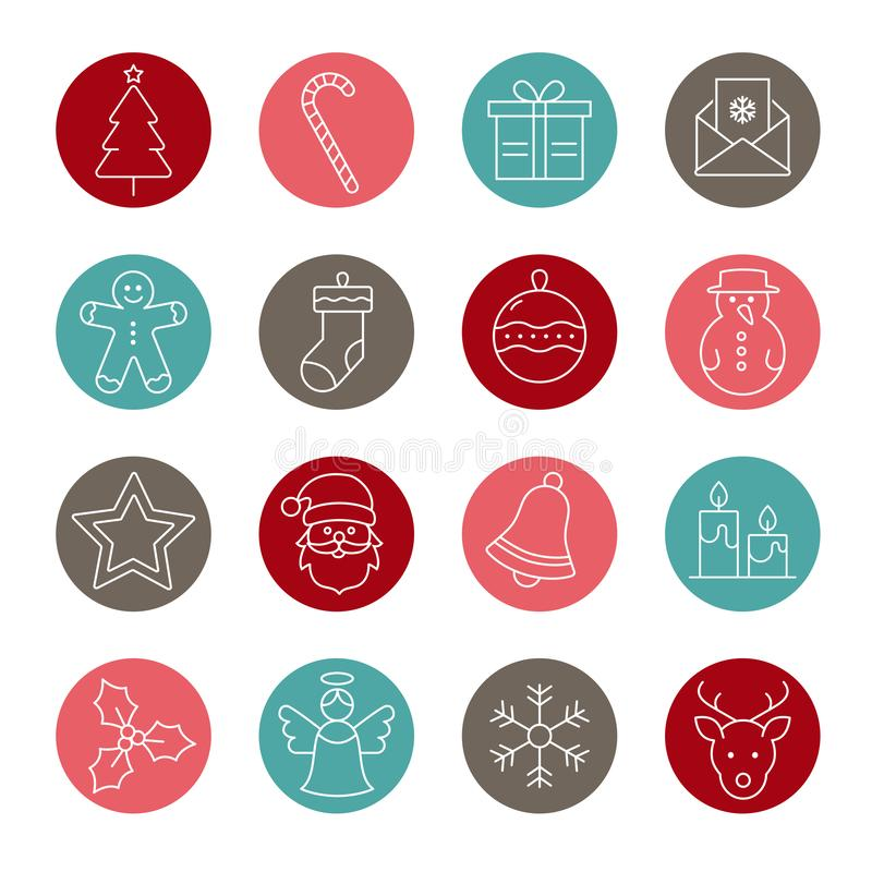 Christmas Icons Collection - thin line design. Collection Of Christmas and Winter Icons vector illustration