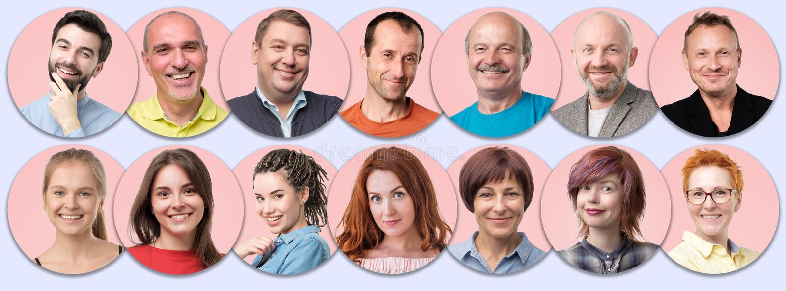 Collection of circle avatar of people. Young and senior men and women faces on pink color. royalty free stock photos