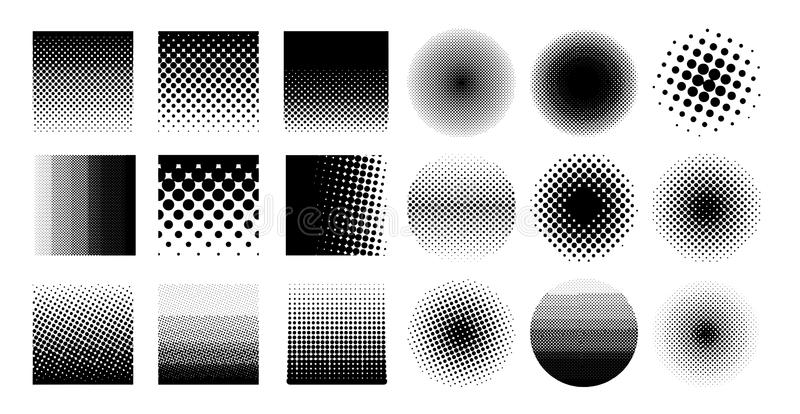 Collection circle halftone element, monochrome abstract graphic for DTP, prepress or generic concepts. Vector illustration. vector illustration