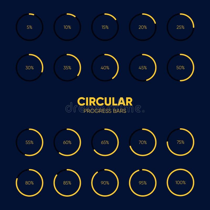 Collection Of Circular Futuristic Progress Loading Bar Stock