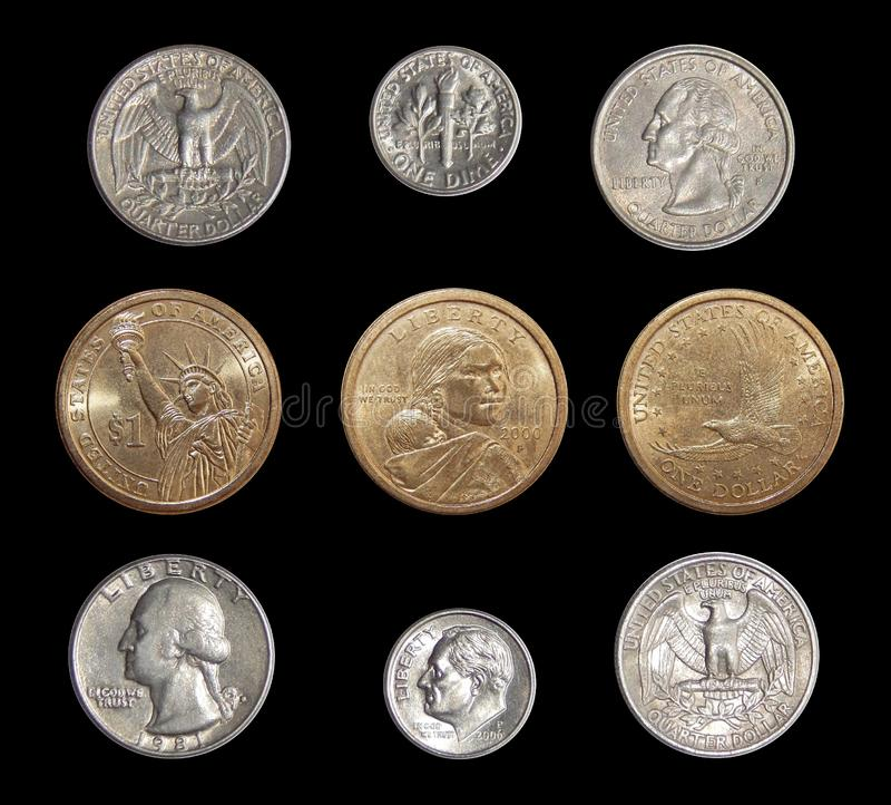 Collection of circulating coins of the USA change coins of America on a black background. Numismatics of coins of the world stock image