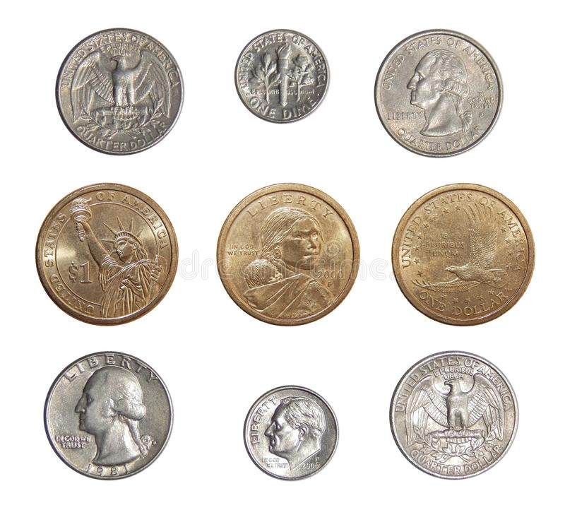 Collection of circulating coins of the USA change coins of America. Numismatics of coins of the world royalty free stock photography