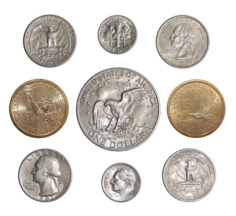 Collection of circulating coins of the USA change coins of America. Numismatics of coins of the world stock images