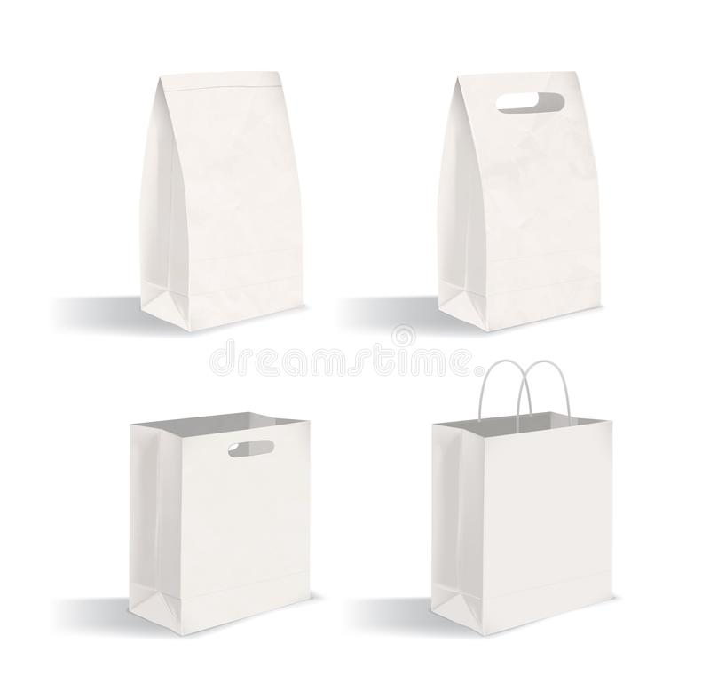 Collection of clean packages isolated on white background. Set of blank paper bags with and without handles. Bundle of. Mock-ups. Vector illustration for royalty free illustration