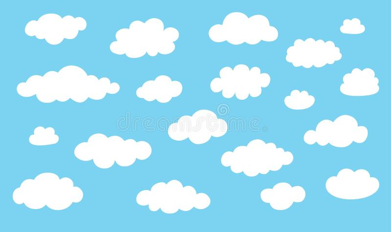 Collection cloud icons. White clouds isolated on blue color background. royalty free illustration