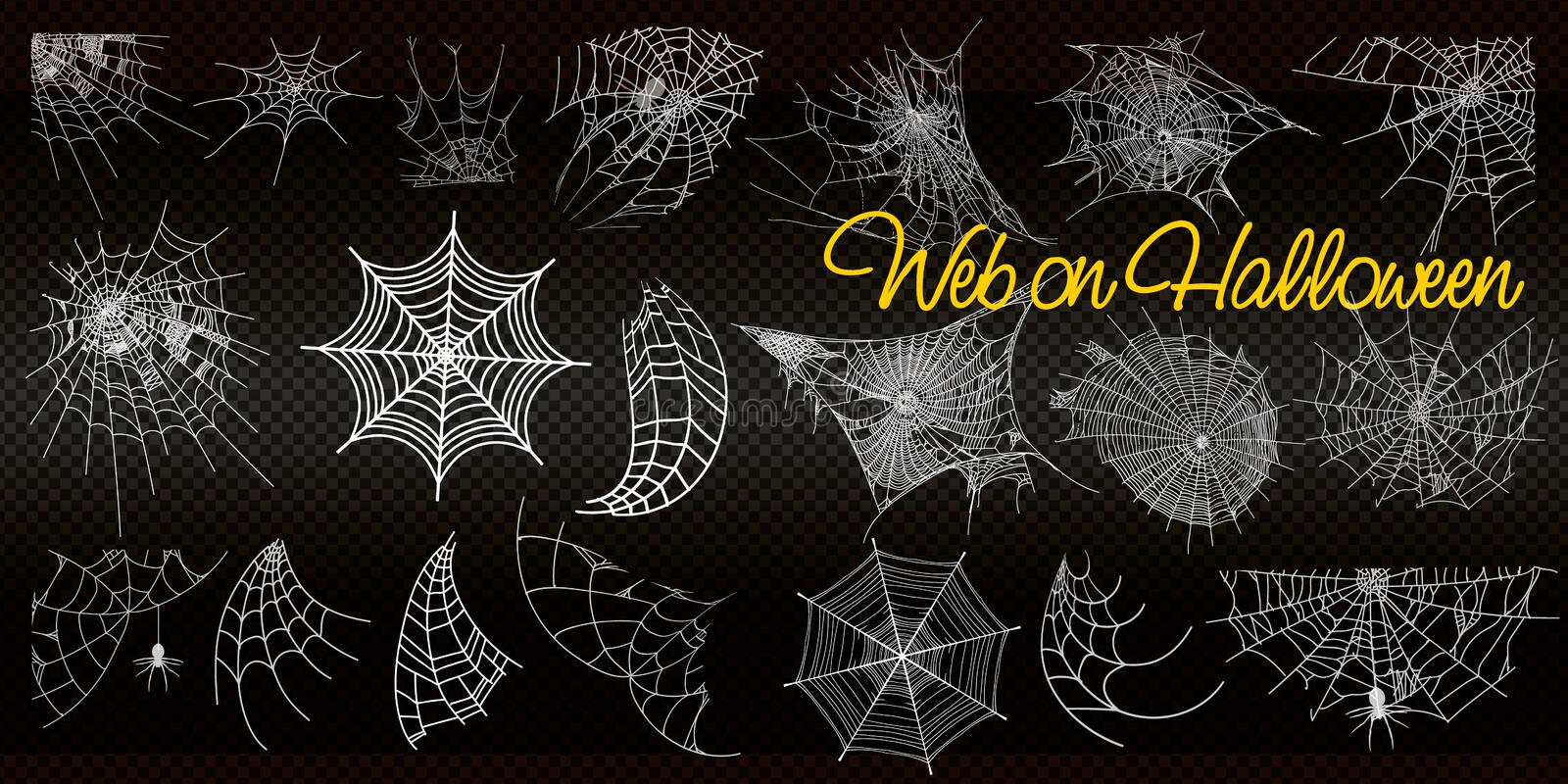 Collection of Cobweb, isolated on black, transparent background. Spiderweb for Halloween design. vector templates royalty free illustration
