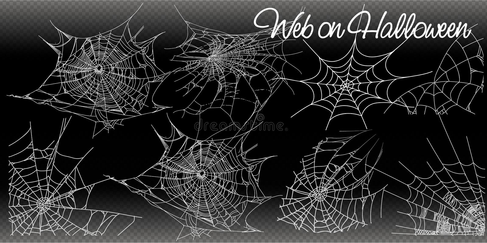 Collection of Cobweb, isolated on black, transparent background. Spiderweb for Halloween design. vector templates stock illustration