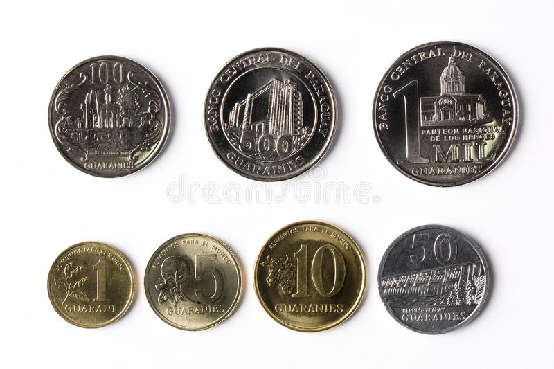 Coins from Paraguay. Collection of coins from Paraguay royalty free stock photos