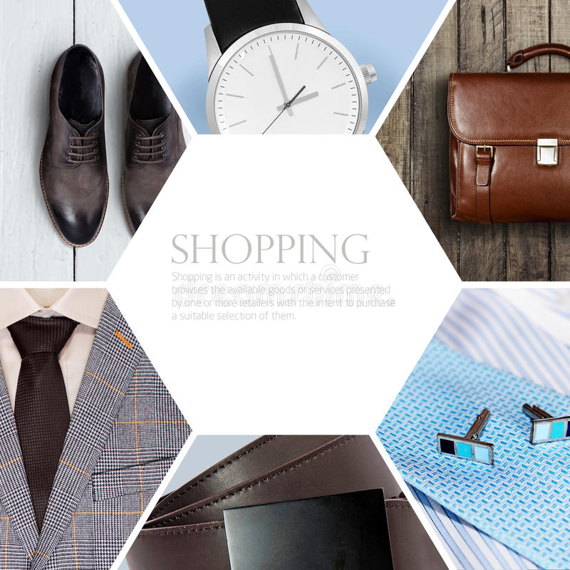 Collection collage of men's clothing stock image