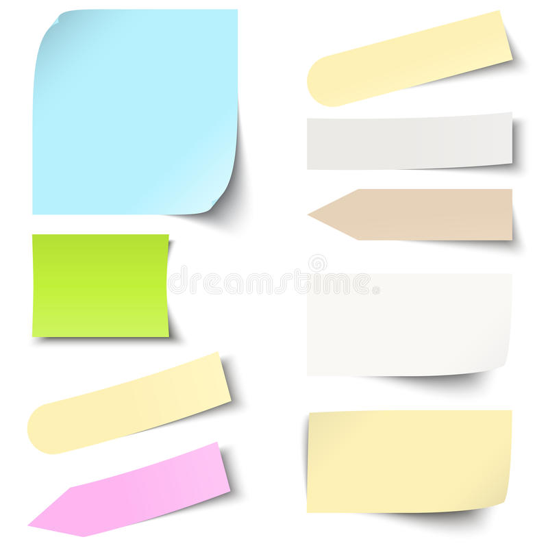 collection collante colorée de notes illustration stock