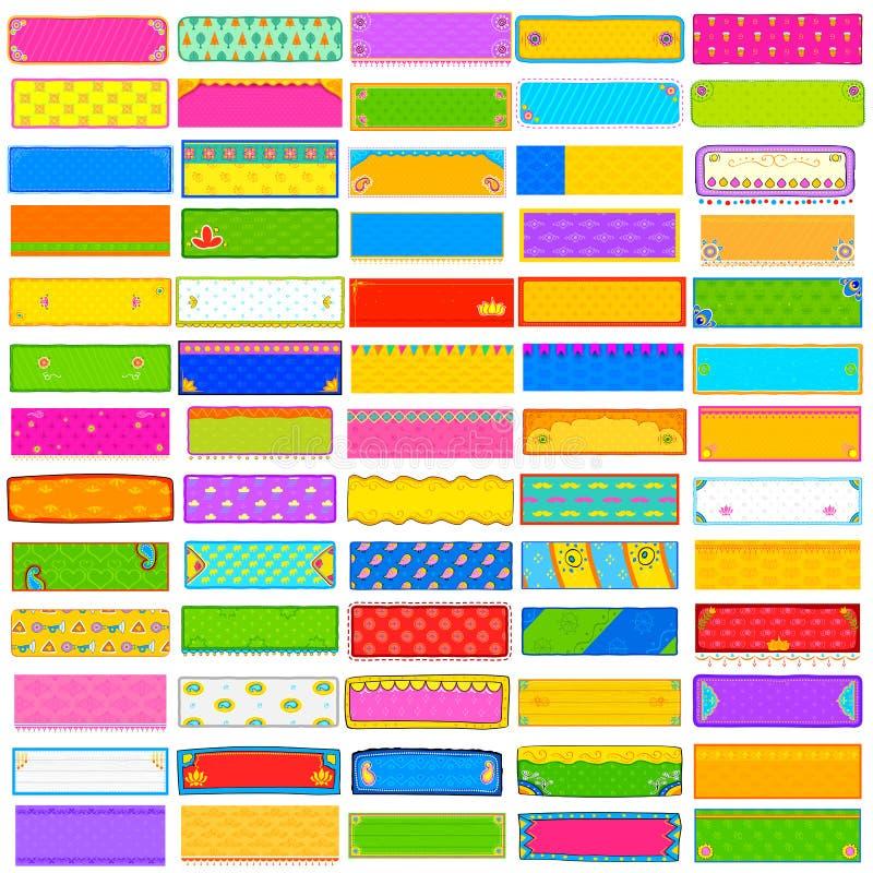 Collection colorée d'éléphant de bannière de kitsch illustration libre de droits