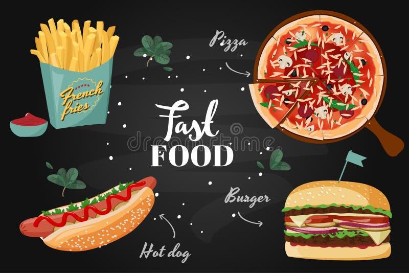 Collection colorée d'aliments de préparation rapide Illustration réaliste de repas de vecteur illustration libre de droits